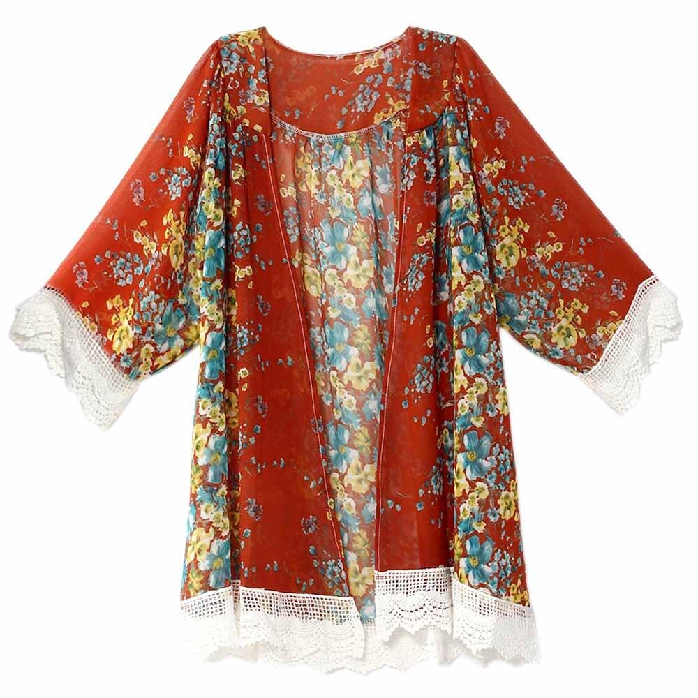 2017 Women Floral Pattern Printed Cape Knits Lace Kimono Cardigan ...