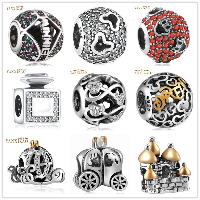 Hot Prata Europeia CZ Charme Beads Fit Estilo Pandora Pulseira Colar de Pingente DIY Jóias Originais
