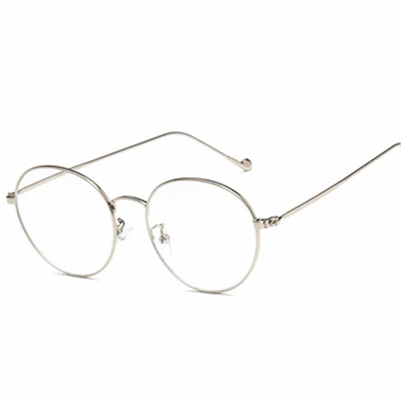 962f07aeb0 ... De moda pequeño redondo gafas nerd claro de la lente unisex oro metal  Marco de gafas