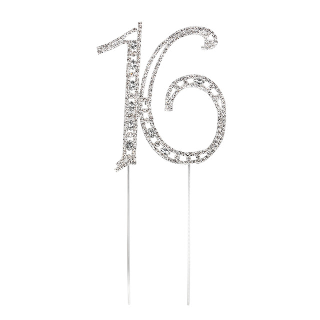 Rhinestone Crystals Birthday Anniversary Number Cake Topper For 16th