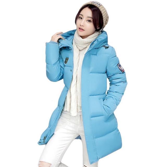Women Fashion Winter Cotton Padded Jacket Hoodies Long Style Hood Slim Parkas Plus Size Thicken Female Outerwear