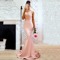 Elegant Backless Pink Sleeveless Halter Neck Women Dress Sexy long Maxi Lace Casual Party Elegant Dress