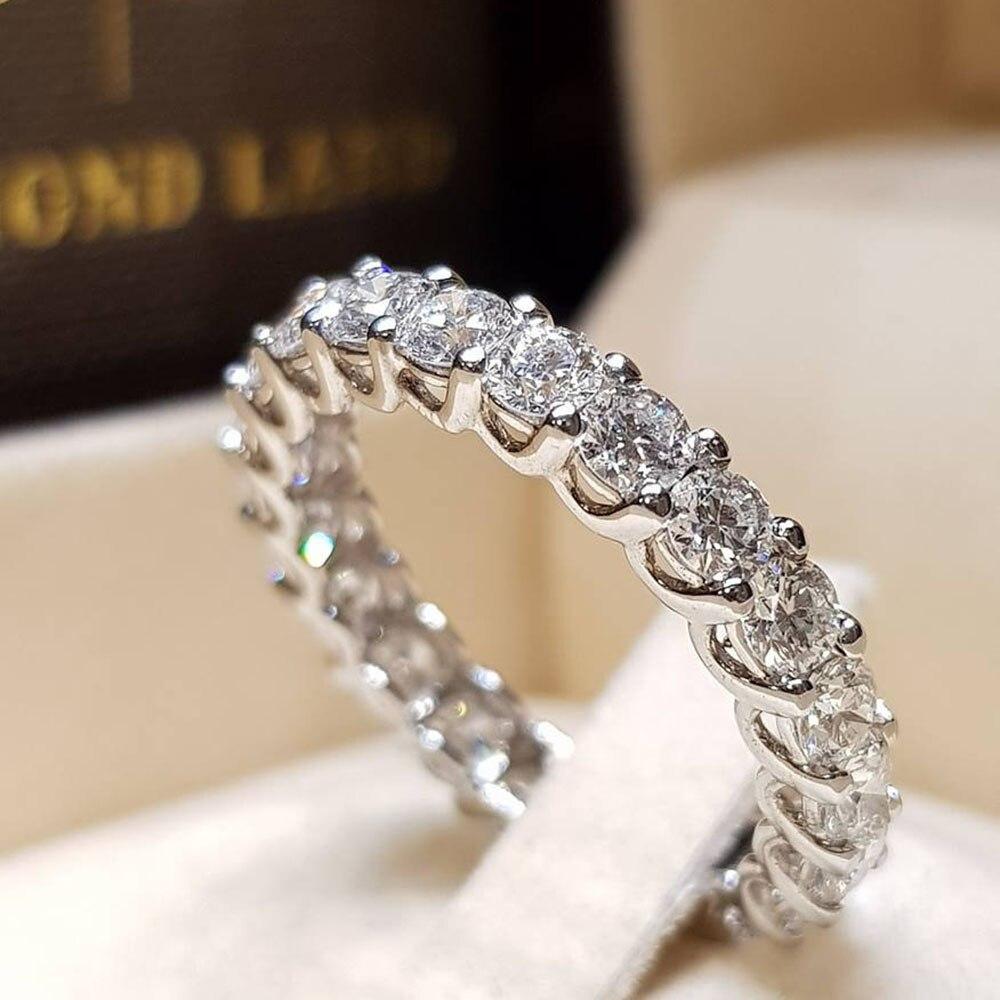 IPARAM anillo de mujer de circón de diamantes de imitación Color plata elegante mosaico redondo Simple anillo de boda de cristal 6/7/8/9/