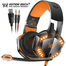 Kotion EACH G2000 G4000 Computer Stereo Gaming Headset Best Casque Deep Bass Game Headphones with Mic LED Light for PC Gamer cheap For Internet Bar Monitor Headphone For Mobile Phone HiFi Headphone for Video Game Common Headphone Wired 114±3dB 2 1m 20-20000Hz