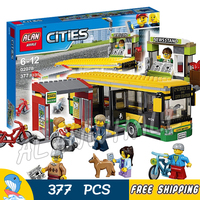 377pcs New City Town Bus Station Passenger 02078 Model Building Blocks Children Toys Bricks Vehicle Hobby