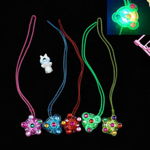 New LED childrens toys flashing spinning gyro necklace luminous
