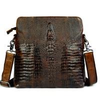 Crocodile Pattern Genuine Leather Small Messenger Bags For Men Crossbody Single Shoulder Bag Male Cowhide Crocodilian