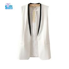 TideSource 2017 Fashion Brand Women Blazers Contrast Color V Neck Long Women Vest Coat Top Quality Cardigans Colete Blazer Vests