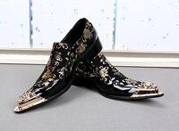 Черная итальянская Для мужчин S Лоферы для женщин из натуральной кожи металлик носком Для мужчин S Блеск Обувь золото Цветочный принт Для му