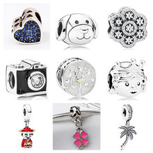 Luxurious Crystal Love Heart Flower Star Camera God of Wealth Pendant Beads Fit Pandora Bracelets for Women DIY Making Jewelry(China)
