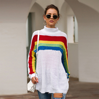 Liva girl High neck Rainbow Womens Sweater Casual Plus Size Multicolor Knitted Autumn Winter 2019 Pullovers Loose Female Jumper