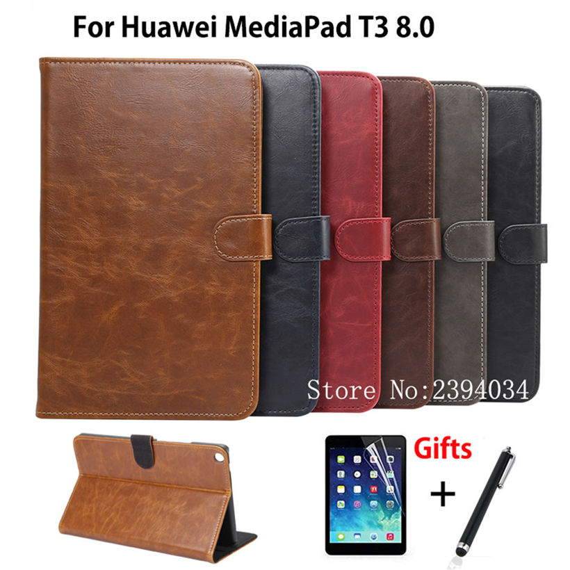 Luxury Case For Huawei MediaPad T3 8.0 KOB-L09 KOB-W09 Smart Cover Funda Tablet PU Leather For Honor Play Pad 2 8.0+Film+Pen mediapad m3 lite 8 0 skin ultra slim cartoon stand pu leather case cover for huawei mediapad m3 lite 8 0 cpn w09 cpn al00 8