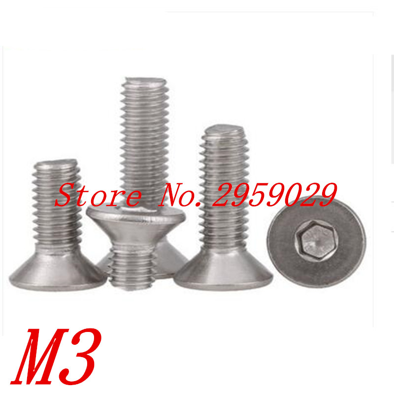 100pcs DIN7991 M3*4/5/6/8/10/12/16/18/20/22/25/30/35/40 3mm Stainless steel hex socket countersunk head screw 250pcs set m3 5 6 8 10 12 14 16 20 25mm hex socket head cap screw stainless steel m3 screw accessories kit sample box