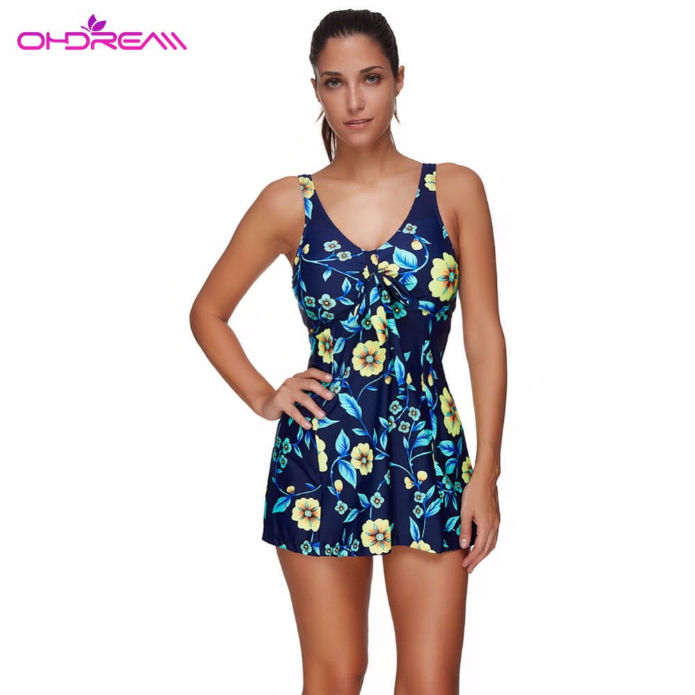 OHDREAM Swimming Short Skirt Floral Sexy Swimsuit One Piece Swim Dress Beach Wear Summer Time Bathing Suit Push Up Clearance -F