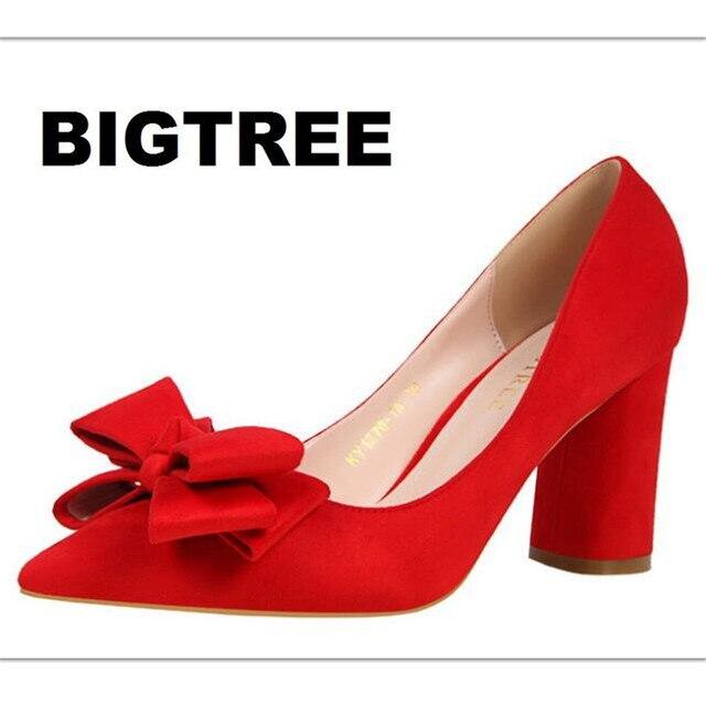 Bigtree las mujeres bombas mujeres del resorte zapatos de tacones altos elegante arco dulce grueso tacón alto shallow punto acuden solos zapatos de gamuza 1376-1a