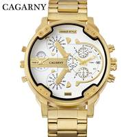 CAGARNY Brand Luxury Watch Men Gold Steel Bracelet Strap Quartz Watches Good Quality Male Wristwatches Fashion Brand NATATE