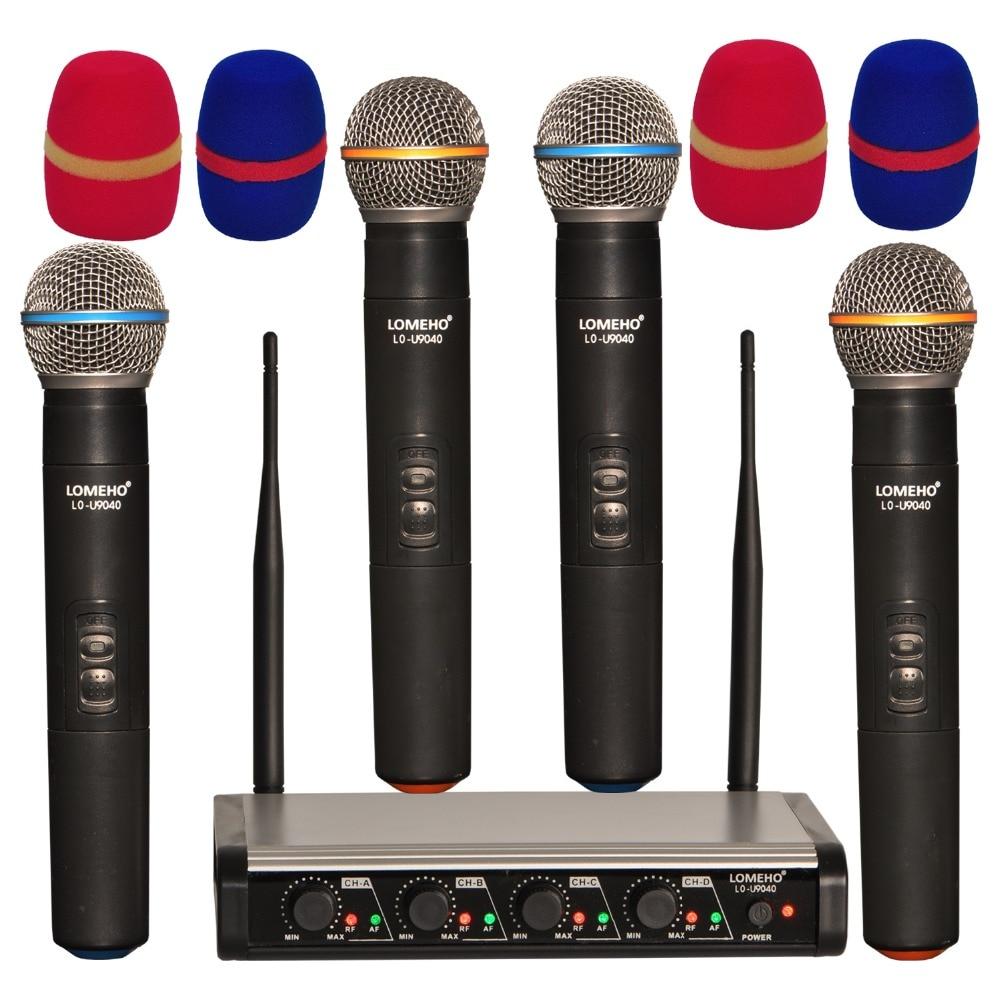 LOMEHO LO-U9040 4 4 Way UHF Handheld Microfone Sem Fio Karaoke Dj Party Reunião Da Igreja