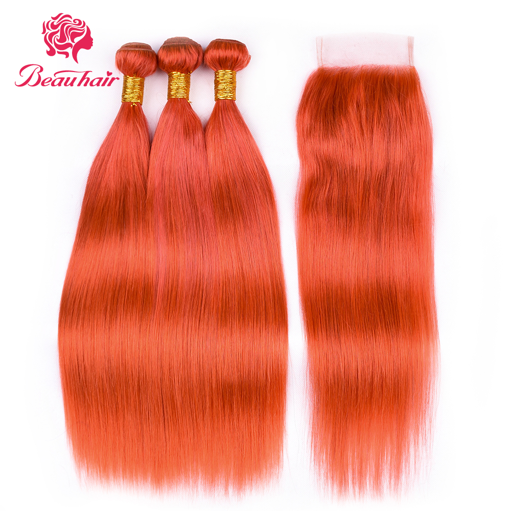 Beauhair Orange Hair Brazilian Straight hair 3 bundles with 4*4 closure Remy Human Hair Extensions Free Shipping