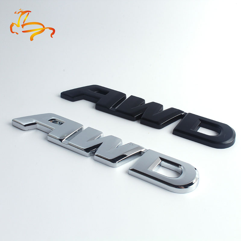 1X 3D Car Styling Chrome Metal <font><b>Sticker</b></font> AWD Emblem Badge Rear Decal Logo for Toyota Impreza Subaru Honda <font><b>4X4</b></font> <font><b>Off</b></font> <font><b>Road</b></font> SUV 4WD image