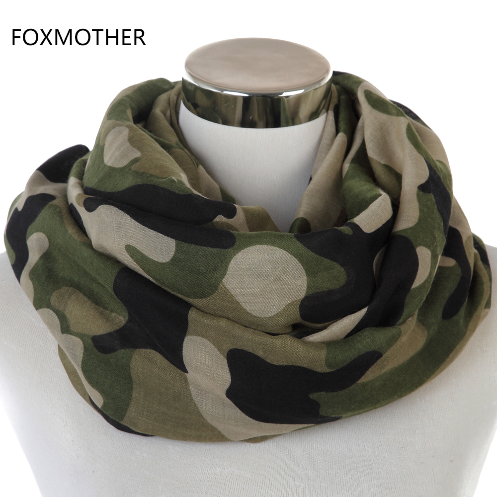 Free Shipping 2018 New Fashionable Army Green Camo Infinity Scarves Snood For Womens Mens