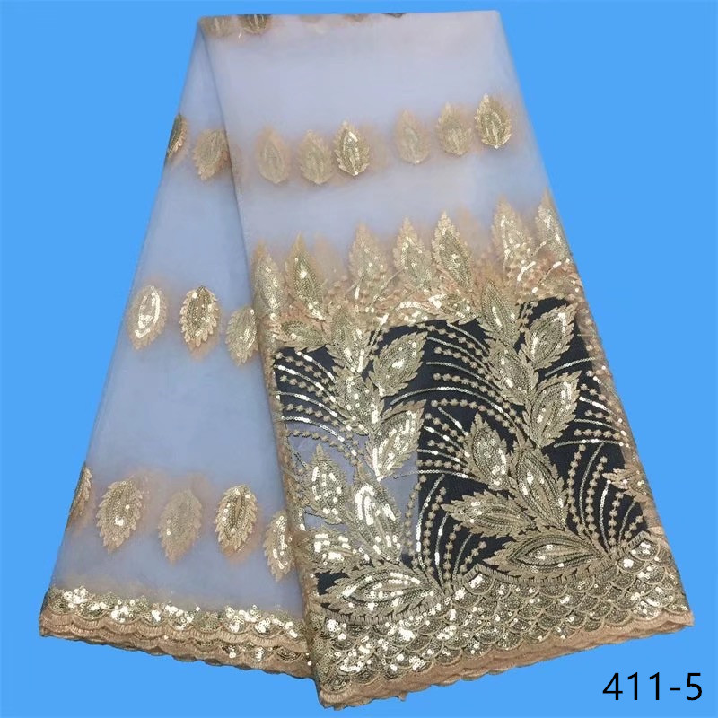 African Lace Fabric With Sequin 2019 Nigerian Sequin Laces Fabric Bridal High Quality French Tulle Lace Fabric For Women Dress in Lace from Home Garden