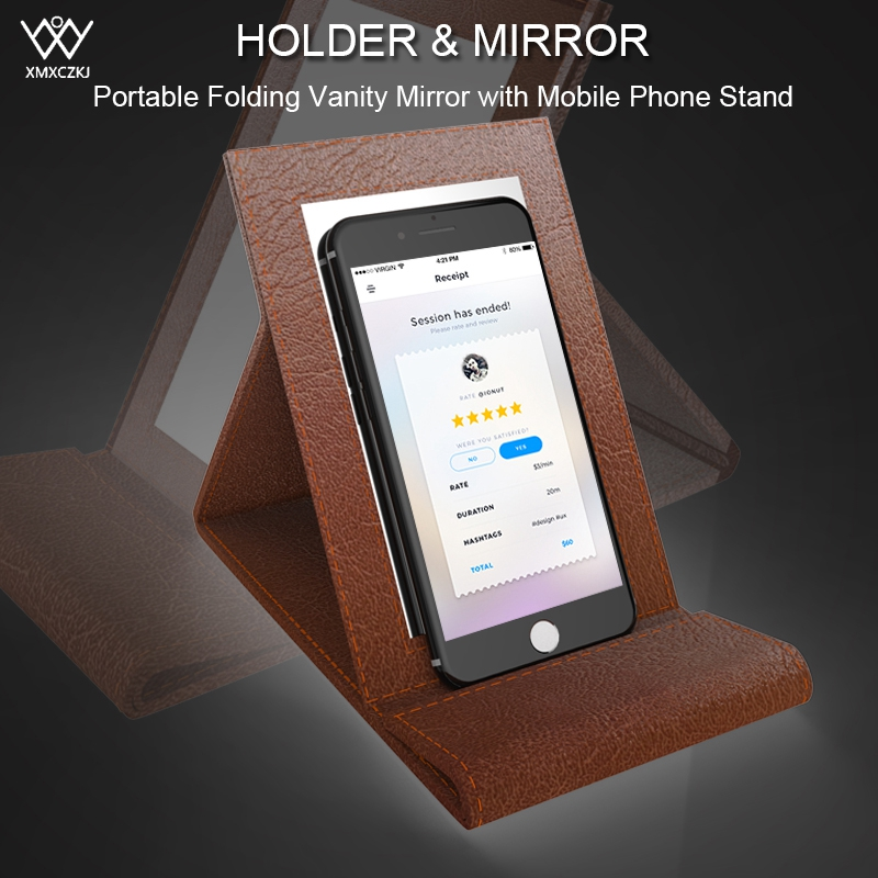2-in-1 Mobile Phone Holder Universal PU Leather Folding Vanity Mirror Phone Holder Desktop Stand For iPhone Samsung Tablet