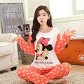Весна и Осень Девушка с длинными рукавами пижамы устанавливает дамы мультфильм пижамы медвежонок женская ночная рубашка одежда