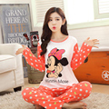 Spring and Autumn Girl long sleeved pajamas sets ladies cartoon sleepwear little bear women's nighty clothes