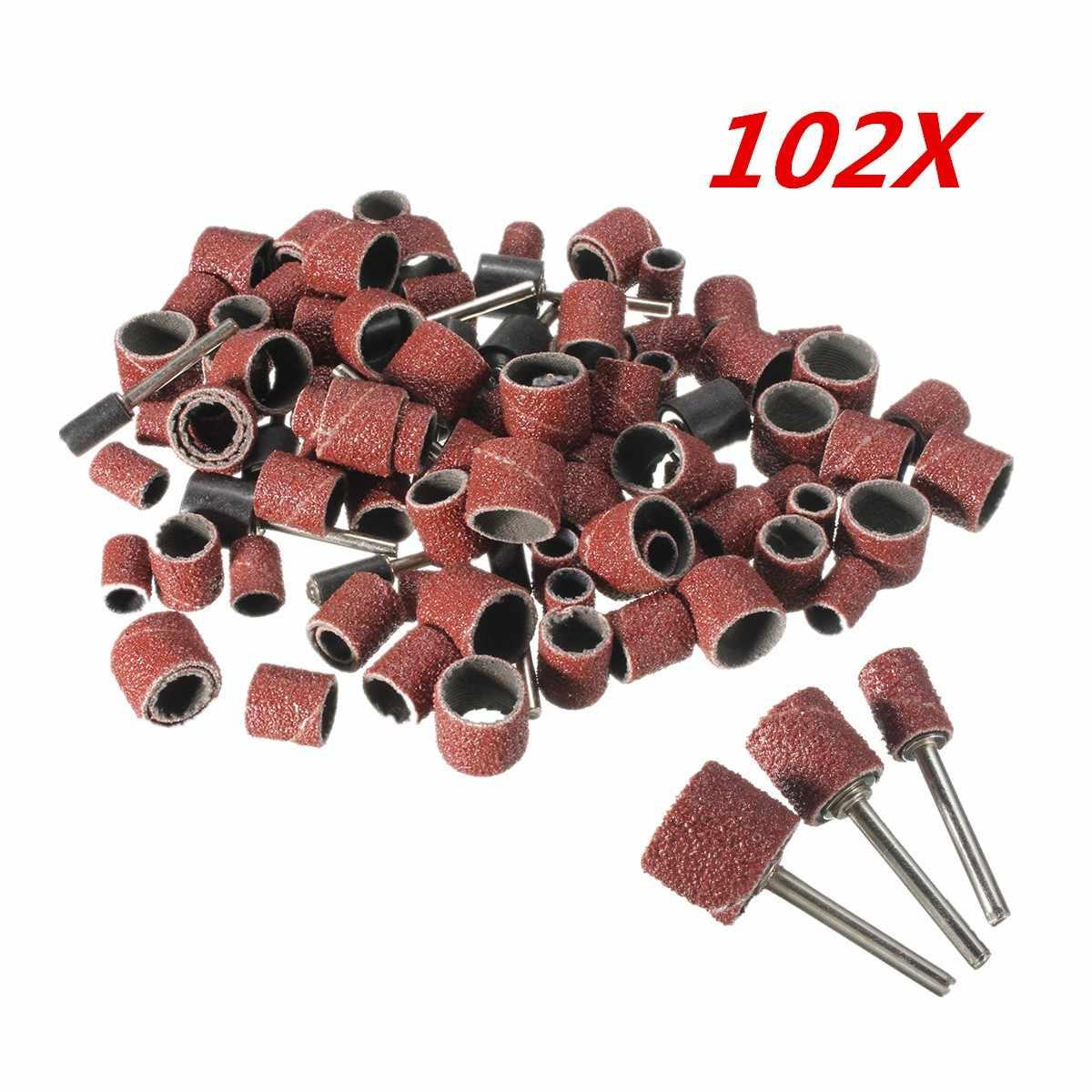 102 Uds. 120 juego de tambor de lija con 1/2 3/8 1/4 pulgadas de lija para herramientas giratorias dremel