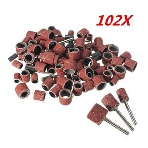Image 4 - 102 stücke 120 Grit Schleifen Trommel Kit Mit 1/2 3/8 1/4 Zoll Schleif Dorne Fit Dremel Dreh Werkzeuge