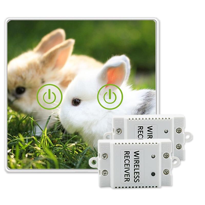 Sans fil Télécommande Tactile Commutateur Animal Image DIY Design En Verre Tactile Commutateur 2 Gang 2 Voies Puissance pour Mur Lumière