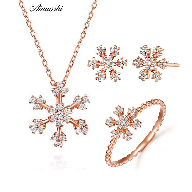 AINUOSHI 18k Solid Rose Gold Women Jewelry Set SI1 H Brilliant Diamond Snowflake Ring Stud Earring Pendant Necklace Christmas