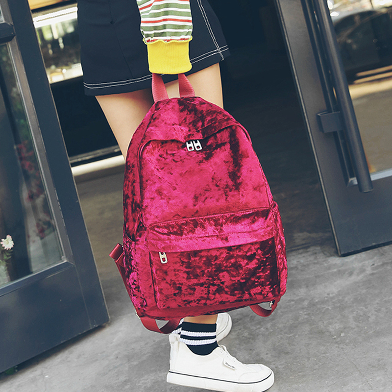 Women Velvet Backpacks Casual Backpack Style Girls Zipper Bags School Bag for Teenage Girls Fashion cloth shake new casual women backpack canvas school bags travel backpacks for teenage girls preppy style dots women bag set