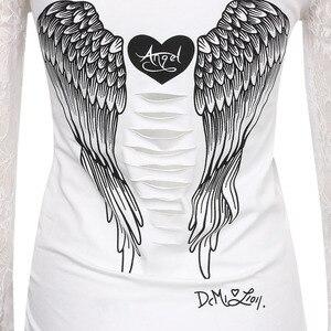 Женские Модные футболка горб Крылья ангела футболка Топы Летний стиль женские длинный рукав топы футболка s Костюмы