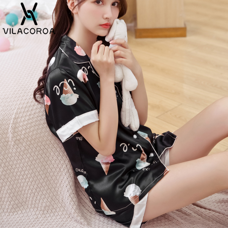 Summer Korean Ice Silk Sexy Pyjamas Women Button Lapel Short Sleeve Shorts 2 Piece   Set     Pajamas     Set   Female Sleepwear pijama mujer