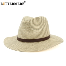 BUTTERMERE Summer Hats For Women Beige Men Jazz Hat Straw With Belt Bowknot Unisex Vintage Solid Beach Ladies Sun Hat Panama цена 2017