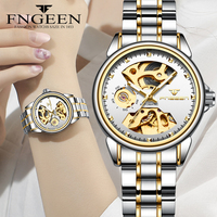 New Fashion Women Mechanical Watch Skeleton Design Top Brand Luxury Full Steel Waterproof Female Automatic Clock