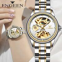 Nouvelle mode femmes Montre mécanique squelette conception Top marque de luxe en acier étanche Femme automatique horloge Montre Femme
