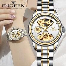 Reloj mecánico para mujer, diseño de esqueleto, de lujo, completamente de acero, resistente al agua, automático, femenino