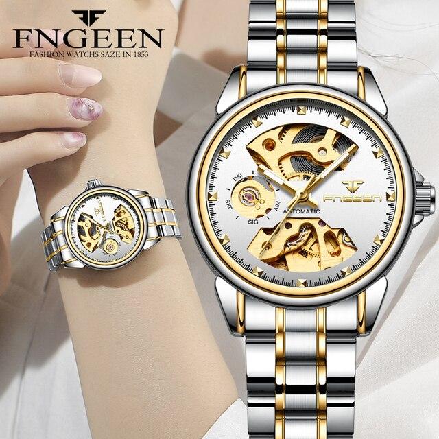 Yeni moda kadınlar mekanik İzle İskelet tasarım en marka lüks tam çelik su geçirmez dişi otomatik saat Montre Femme