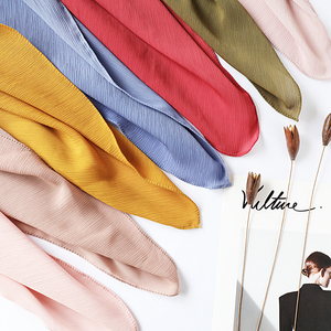Image 1 - One piece women solid plain crepe chiffon hijab scarf wraps soft long islam shawls muslim crinkle chiffon scarves hijabs