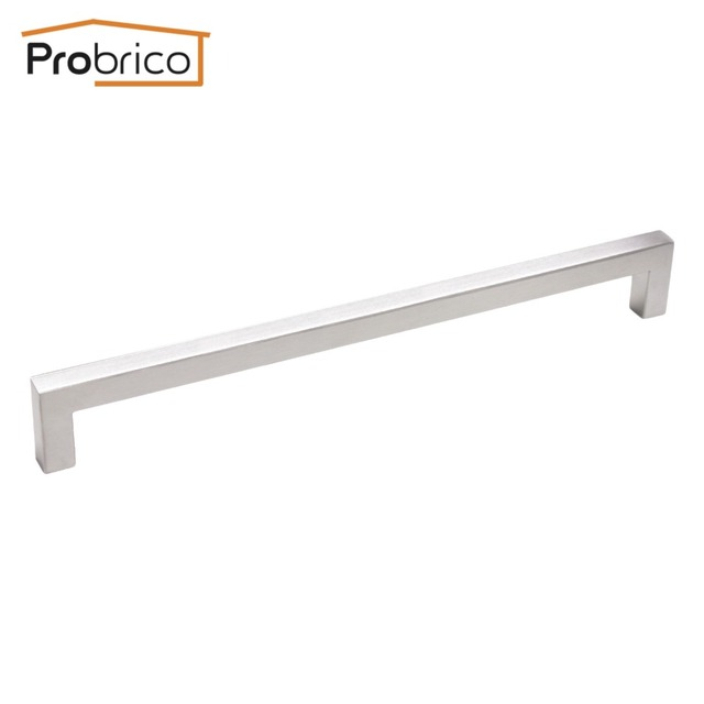 Probrico 10 PCS 12mm*12mm Square Bar Handle Stainless Steel Hole Spacing 256mm Cabinet Door Knob Drawer Pull PDDJ27HSS256