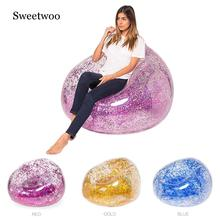 Outdoor Confetti Glitter Inflatable Lounger Lazy Bag Air Sofa Waterproof Rose Gold Glitter Inflatable Chair Air Bed Sleeping Bag high quality inflatable sofa hangout camping lazy bag waterproof air bed lounger hammock laybag square sleeping bag