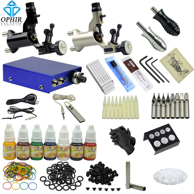 2017 hot sale ophir pro 2 rotary tattoo machine guns kit for Tattoo gun kits for sale