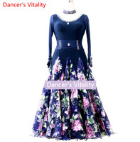 2018new Ballroom Dance Dresses Lady's Long sleeves Stage Waltz Dancing Skirt Women luxury Ballroom Competition Dance Dress
