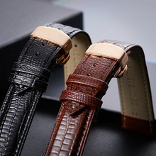 New leather strap cowhide butterfly button rose gold strap alligator lizard 16mm-22mm