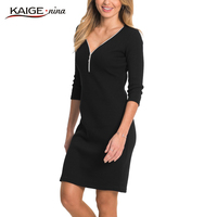Kaige Nina New Women S Fashion Office Lady Solid O Neck Knee Autumn Straight Dress With