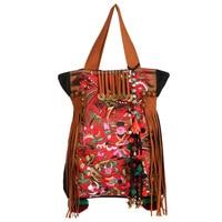 Spain New Fashion National Wind Women Flower Embroidered Handbags Desigues Casual Bag Embroidery Handbags Canvas Handbags