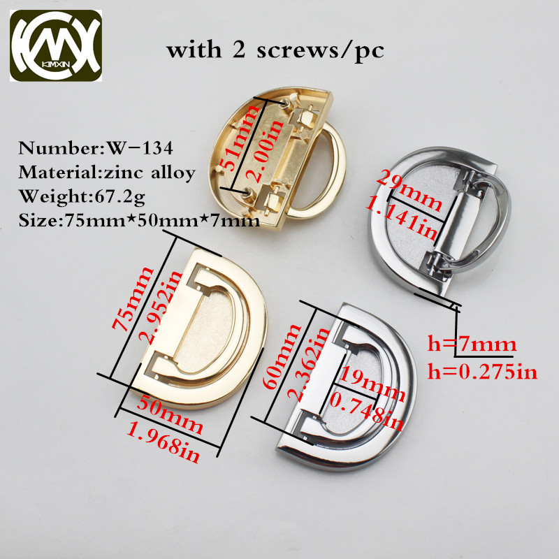 2pc 75*50mm Manufacturer sales zinc alloy Semicircle Handle furniture hardware Jewelry box Wooden box Side of Handles W-134 manufacturer of spot sales promotion