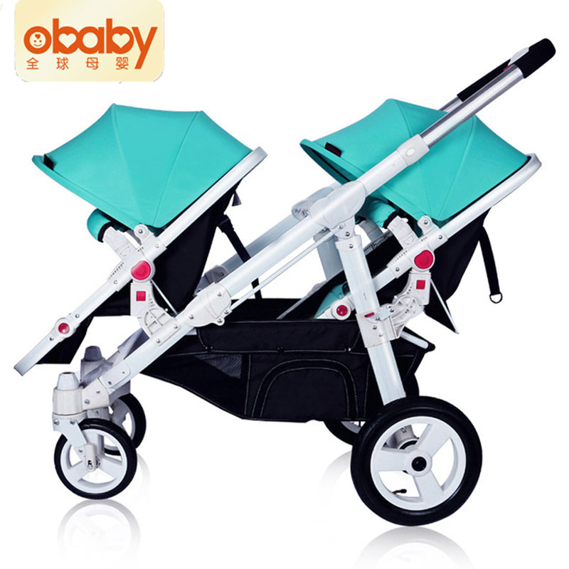 Twin Baby Trolley Flat Front Rear Can Be Lying Folding Portable Two-way Detachable Trolley Shock Absorber Separable Adjustable high profile baby trolley ultra light can be lying down two way four wheel shock baby trolley